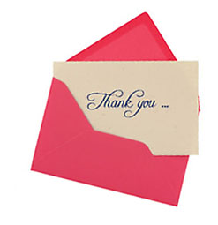 thank you note in a pink envelope isolated on white